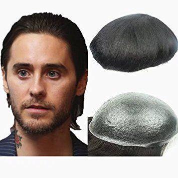 N.L.W. European virgin human hair toupee for men with transparent Thin skin PU, 10″ x 8″ Straight hair… Review
