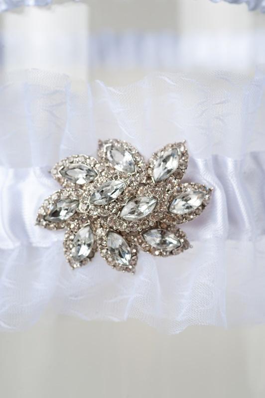 Wedding Garter Isabella With Rhinestone Crystal Brooch
