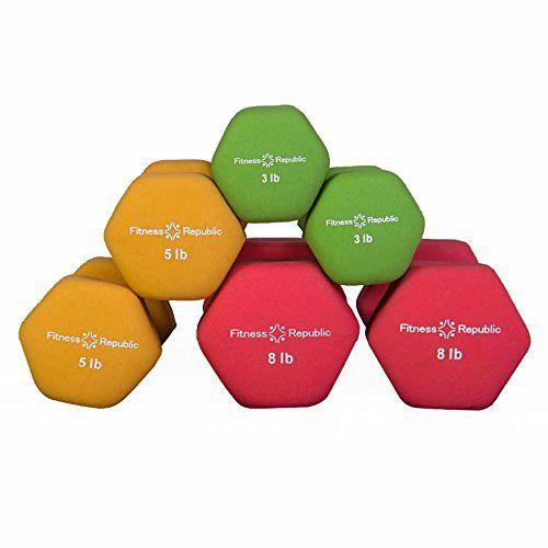 Amazon.com : Fitness Republic Neoprene Dumbbell Pairs (3 Dumbbells Set) 3lb, 5lb & 8lb $70: For my future home gym