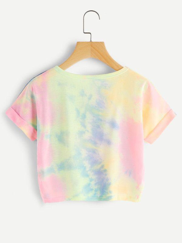 Camiseta de doblez con estampado de acuarela y letras  94d5dab5c3676