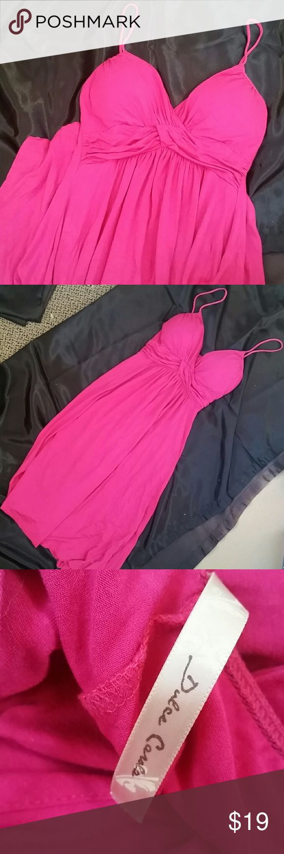Beautiful Pink sweetheart aline empire waist dress This pink dress is very elegant and feminine and fuchsia within strap details lightly padded cups sweetheart neckline and a high waist. Hits mid low thigh. Beautiful dress I just never wear bright pink! Great quality. Bought from VS years ago. Brand shown on tag Victoria's Secret Dresses