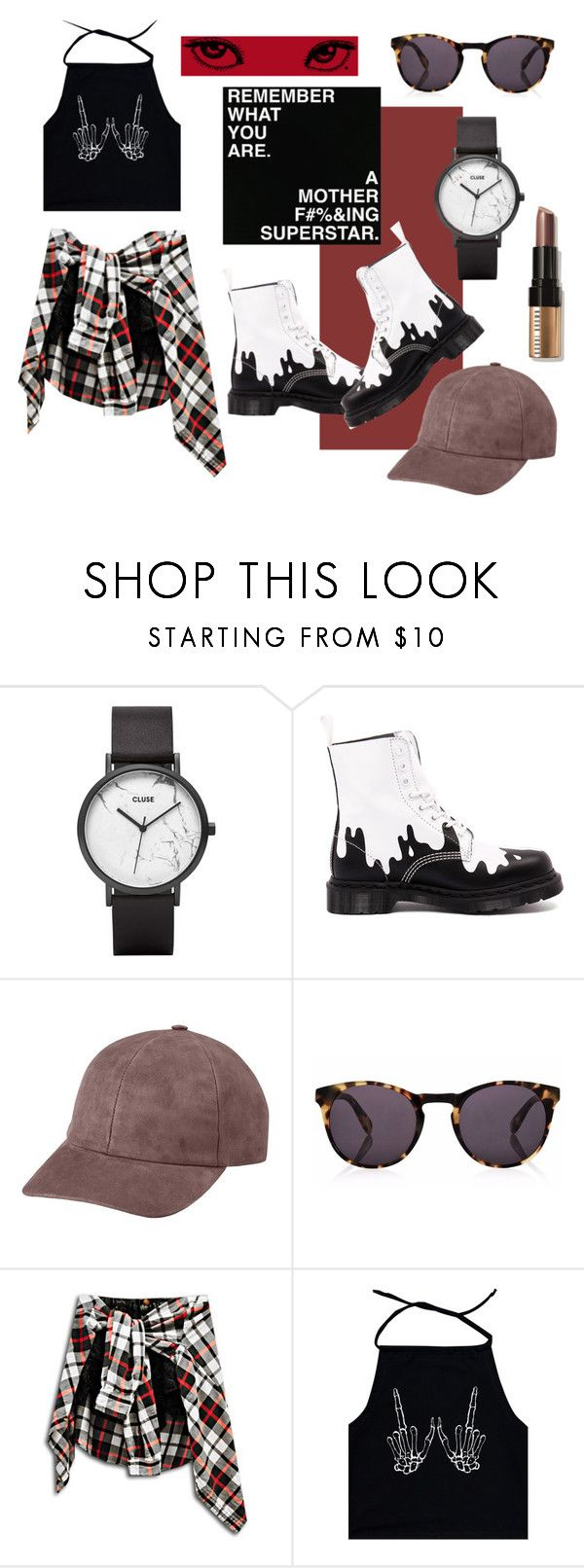 """""""Hell Yes!"""" by blackyogurtgirl ❤ liked on Polyvore featuring Ezgi Cinar, CLUSE, Dr. Martens, Vianel, Finlay & Co. and Bobbi Brown Cosmetics"""