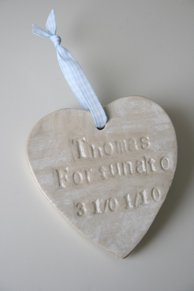 Bespoke Baby Birthday Ceramic Hanging Heart Gift- Personalised for Girl or Boy £14.99- On Folksy.com Take a Look or Re-pin if you like it :)