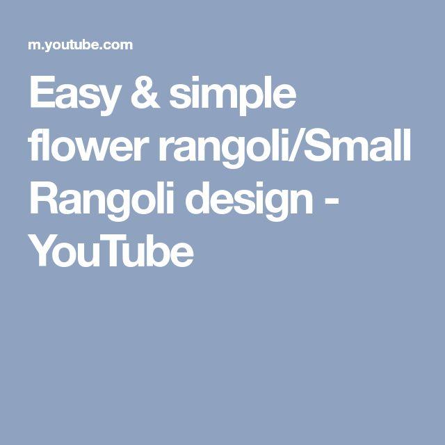 Easy & simple flower rangoli/Small Rangoli design - YouTube