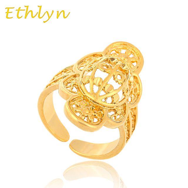 Latest new arrival etíope Ethlyn redimensionável nupcial anel de casamento anel 24 k real banhado a ouro de casamento tamanho livre mulheres meninas R014