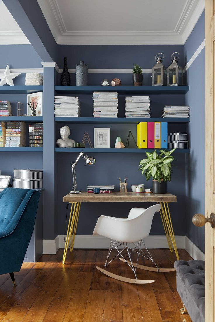 Home of Clare Elise Interiors Home Office. Walls Juniper Ash by Little Greene Paint Company