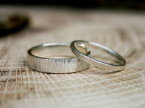Silver Tree Bark Wedding Rings: Rustic Wedding Rings, Silver Wedding Bands, Wedding Ring Set, Commitment Rings, Unusual Wedding Bands