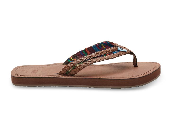 These say sand walking to for the summer! Brown Dark Brown with Green Mix Textile Women's Solana Flip-Flops