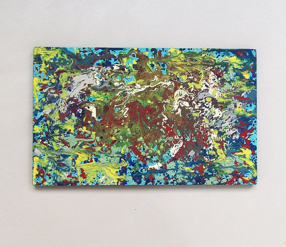Original Art Modern Abstract Painting Acrylics on Wooden