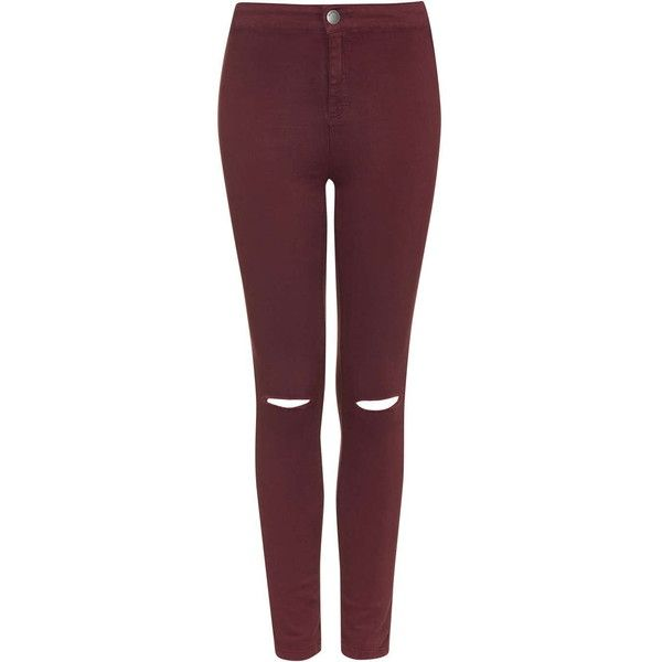 High Waisted Rip Jeans by Glamorous ($18) ❤ liked on Polyvore featuring jeans, pants, bottoms, burgandy, red ripped jeans, destroyed jeans, red high waisted jeans, ripped jeans and topshop jeans