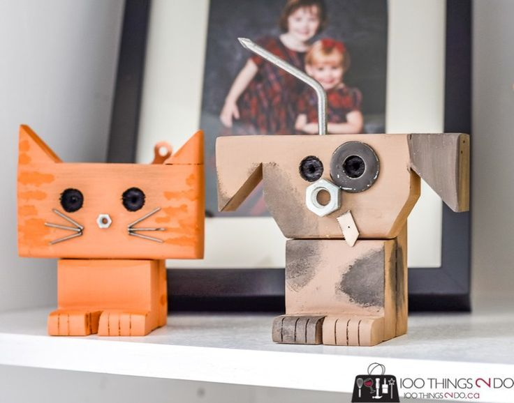 Scrap Wood Robots And Pets In 2020 Scrap Wood Crafts Scrap Wood