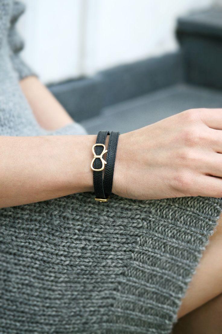 Leather and ribbon bracelet by Lilou http://lilouparis.com/en/ready_made_sets/  #lilou #bracelet #leather #ribbon #jewellery