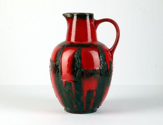 West German Vintage Fat Lava Handled Vase by by BetterLookBack