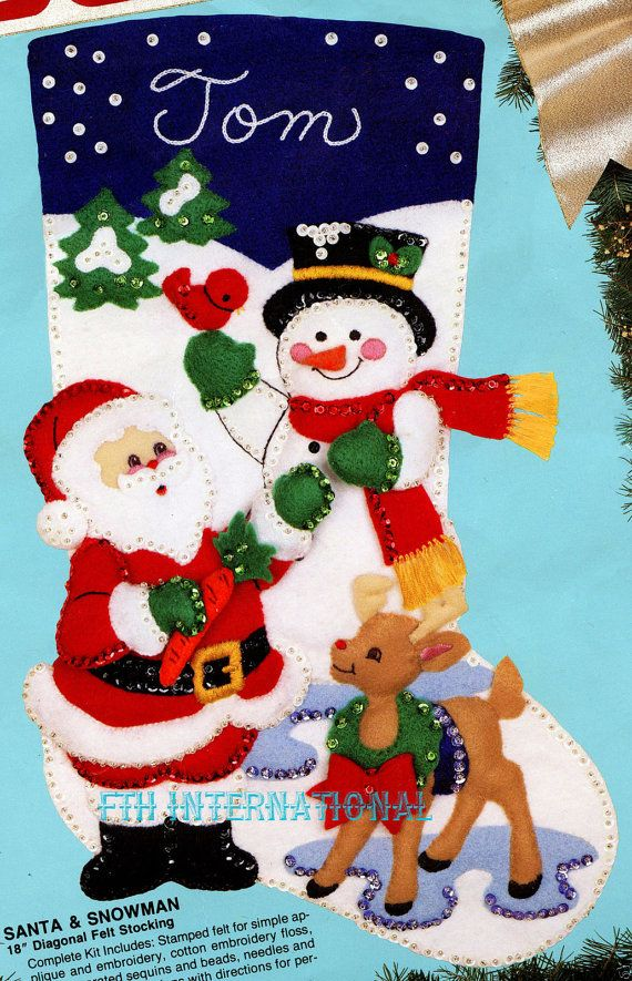 Bucilla Santa & Snowman 18 Felt Christmas Stocking Kit