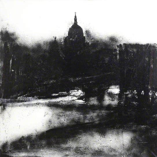 John Virtue - 2004 Acrylic and shellac on canvas 149 x 149 cm Landscape No.739