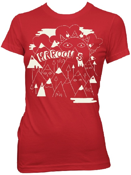 This Maroon 5 tshirt features the contemporary Pop Music band's logo drawing of mountains with faces. This ladies' tee is made from 100% red cotton.
