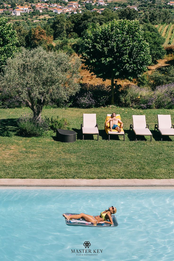 By the pool. Boutique hotel in Lamego, Douro region, Portugal