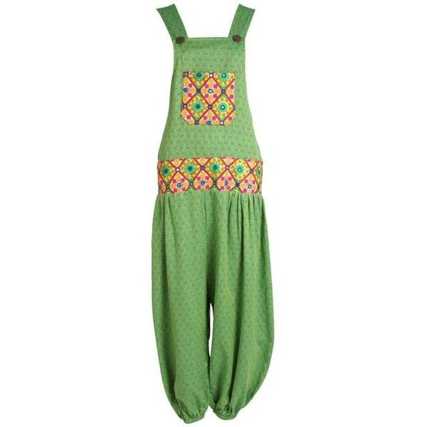 Drop Waist Mirrorwork Harem Dungarees ($59) ❤ liked on Polyvore featuring jumpsuits, green jumpsuit and harem jumpsuit