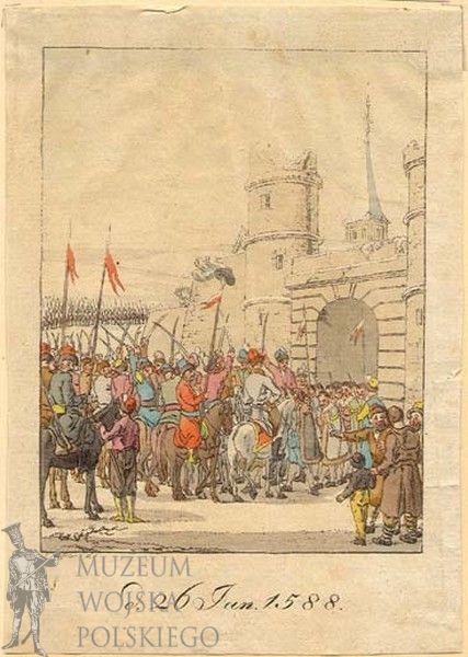 """Miedzioryt, """"Byczyna, zdobycie zamku i wzięcie wojsk arcyksięcia Maksymiliana do niewoli"""", autor nn (XIX w.)"""