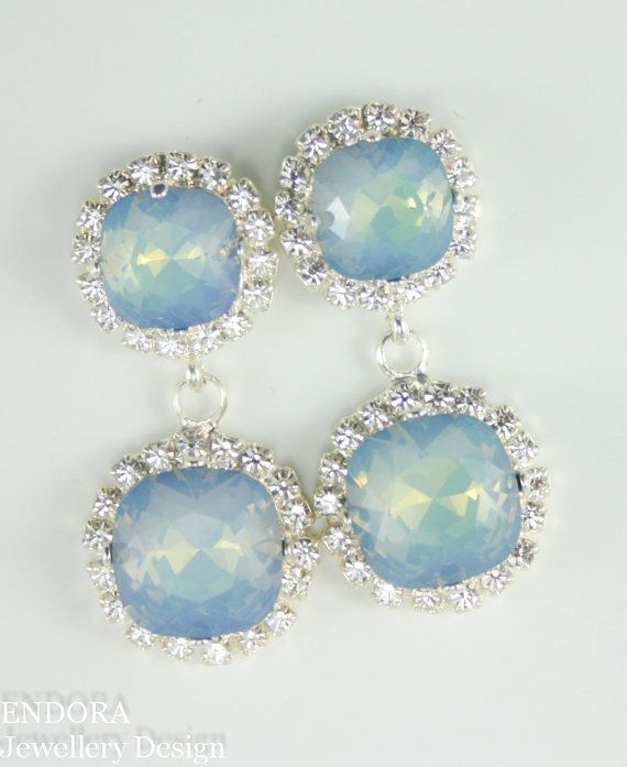 Statement Swarovski crystal earrings | Something blue bridal jewelry | Rare White Opal Starshine | #EndoraJewellery pinterest.com/endorajewellery/wedding-your-day-your-way/