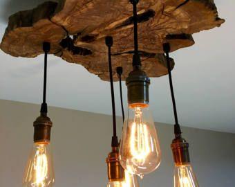 Kleine Live-Edge olijf hout kroonluchter licht meubilair met Edison bollen - industriële/hedendaagse/Modern/Earthy *