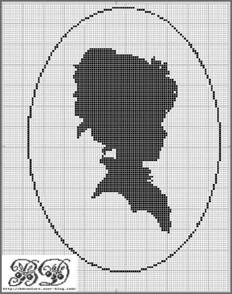 0 point de croix camée - cross stitch cameo