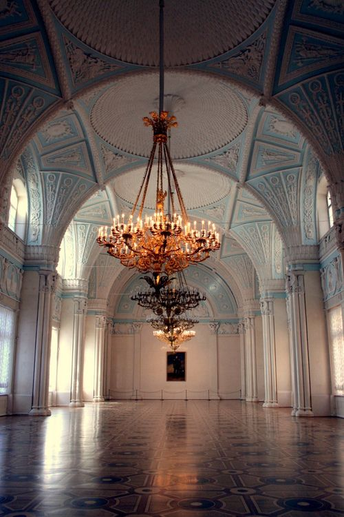Chandeliers at Alexander Hall of the Winter Palace / St Petersburg, Russia