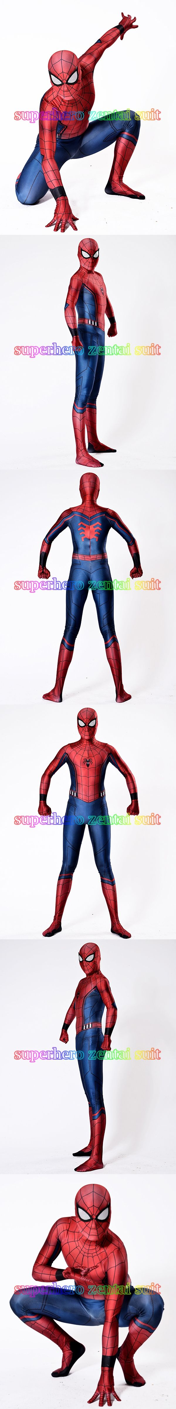 Civil War Spiderman Costume 3D Shade Spandex Fullbody Halloween Cosplay Spider-man Superhero Costume For Adult/Kids