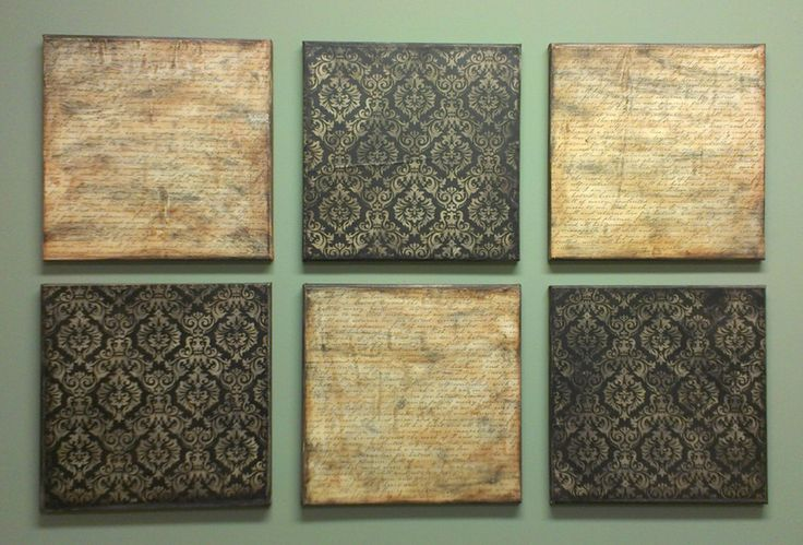 These were created using square canvases, scrapbook papers, mod podge and paint.  Cut papers to fit the canvas and use mod podge to adhere it.  Once dry, paint around the sides of the canvas.  Also lightly brush paint around the edges of the papers on the front.
