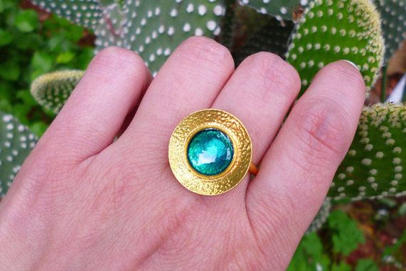 Hey, I found this really awesome Etsy listing at https://www.etsy.com/listing/269111619/teal-round-ring-gold-ring-blue-green