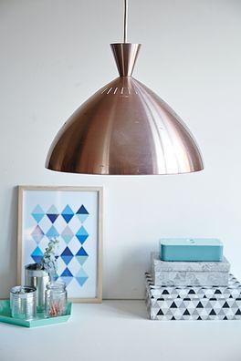 Kobber lampe - 400kr. Køb den på www.loppedesign.dk