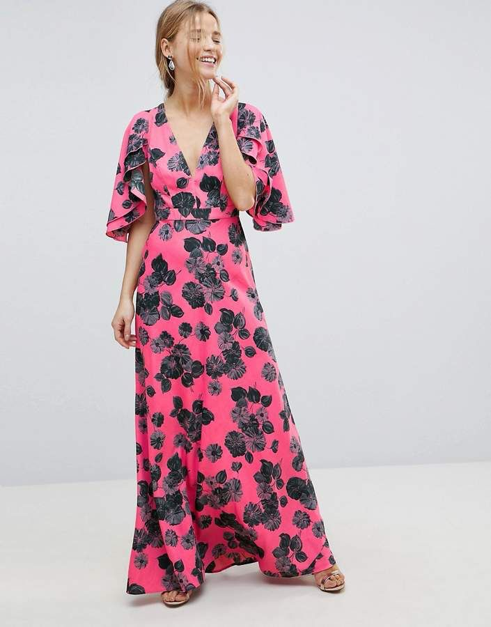 324913d160dc Bright Floral Maxi Dress with Ruffle Sleeves in 2019 | Asos | Floral ...