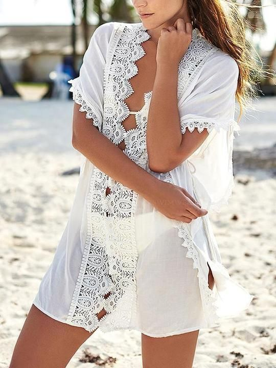 e09ee7171c Stylish Vovo Lacy Belted Beach Cover-ups |Stylishvovo #lace #sheer #cover- ups #beachwear