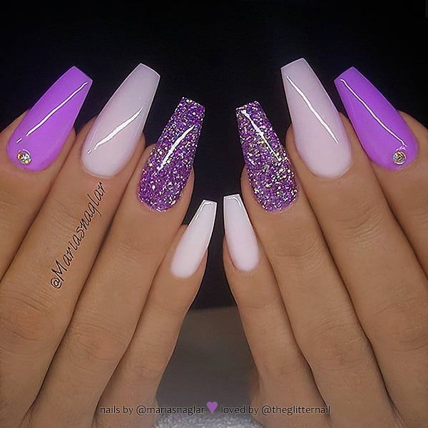 Bright Purple Milky Pink And Glitter On Coffin Nails Nail Artist Mariasnag In 2020 Purple Acrylic Nails Coffin Nails Designs Summer Acrylic Nails