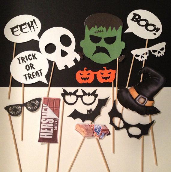 Halloween Photo Booth Prop props on a stick por CreatedToParty