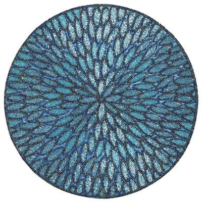 Aqua beaded round placemat table toppings pinterest for Glass table placemats