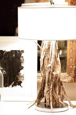 DIY driftwood lamp - http://sweetsomethingdesign.blogspot.co.uk/2011/03/at-home-thursday-diy-driftwood-lamp.html