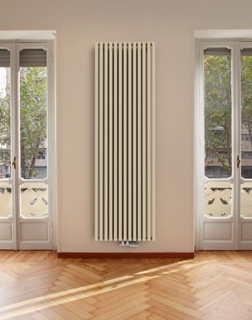 Vertical radiator with high heat output, favourite radiator Ruby Twin.