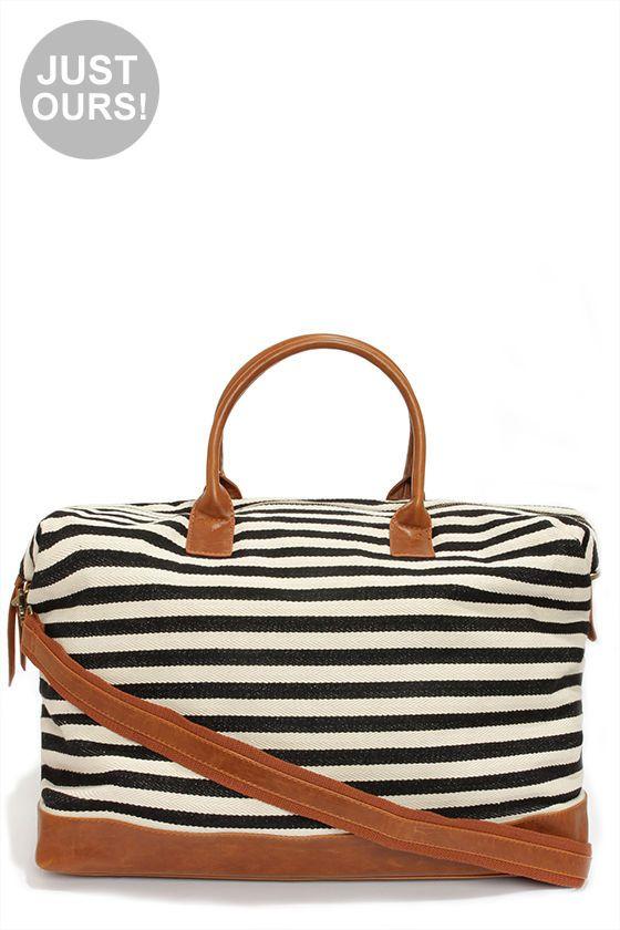 Cream and Black Striped Weekender Bag