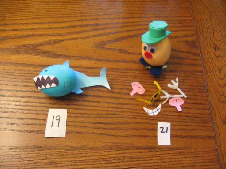 Shark egg and Mr Potato head easter