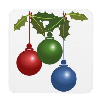 colorful Christmas ornaments Coasters