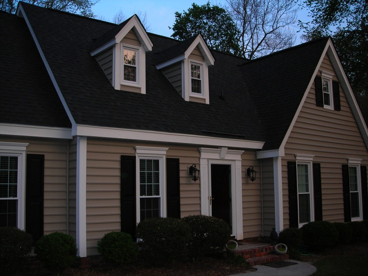 Black roof redo pinterest - House colors with brown roof ...