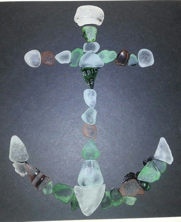 #seaglass #beachglass art project ideas I made this anchor & put inside a shadow box. Looks beautiful!