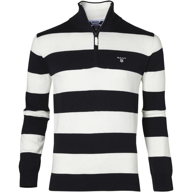 Cotton Barstripe Zip - Gant - $68