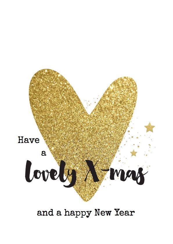 Hippe kerstkaart met stoere handlettering teksten en groot goud glitter hart! Met kleine spetters en sterren. Verkrijgbaar bij #kaartje2go voor €1,89