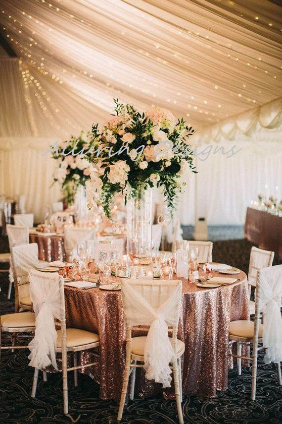 Sequin Banquet Tablecloths Linens Wedding Event Party Anniversary Shower Bridal Reception Glitz Bling Decor Cake Sweetheart Table Holiday