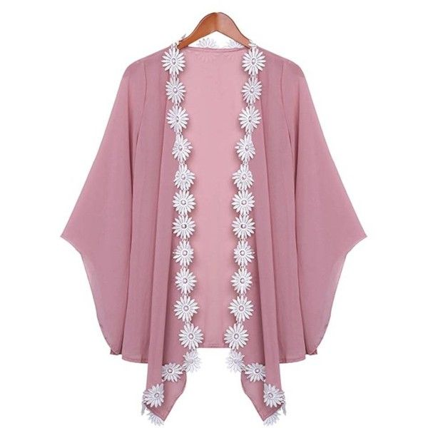 Women 3D Flower Patchwork Solid Chiffon Cardigan ($11) ❤ liked on Polyvore featuring tops, cardigans, newchic, outerwear, pink, sweaters & cardigans, print cardigan, crochet cardigans, pink chiffon top and pink crochet top