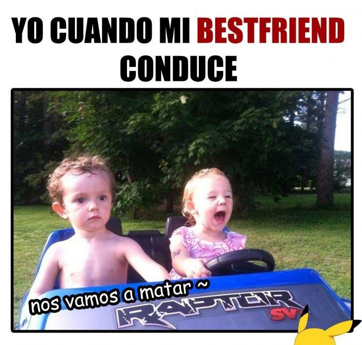 Meme de cuando tu amiga conduce