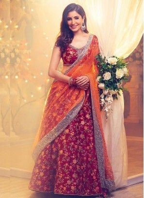 3d305f56f9 anushkasharma #designers #looks #Maroon #Bridal #lehengacholi   Gown ...