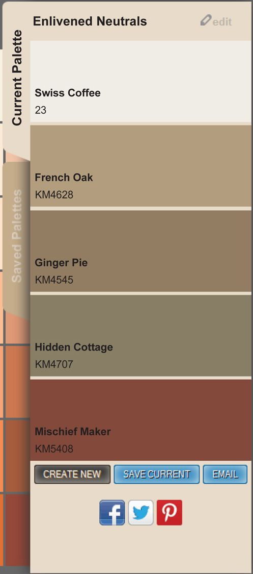 Enlivened Neutrals | To create, save and share your own paint color palette, go to www.myColorStudio.com. #PaintColors